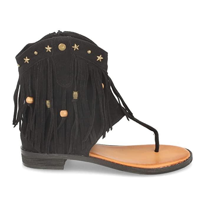 Sandalias boho negras con flecos
