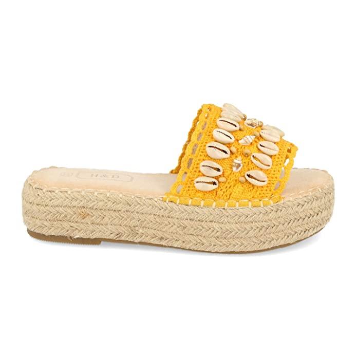 Sandalias boho con plataforma en color amarillo