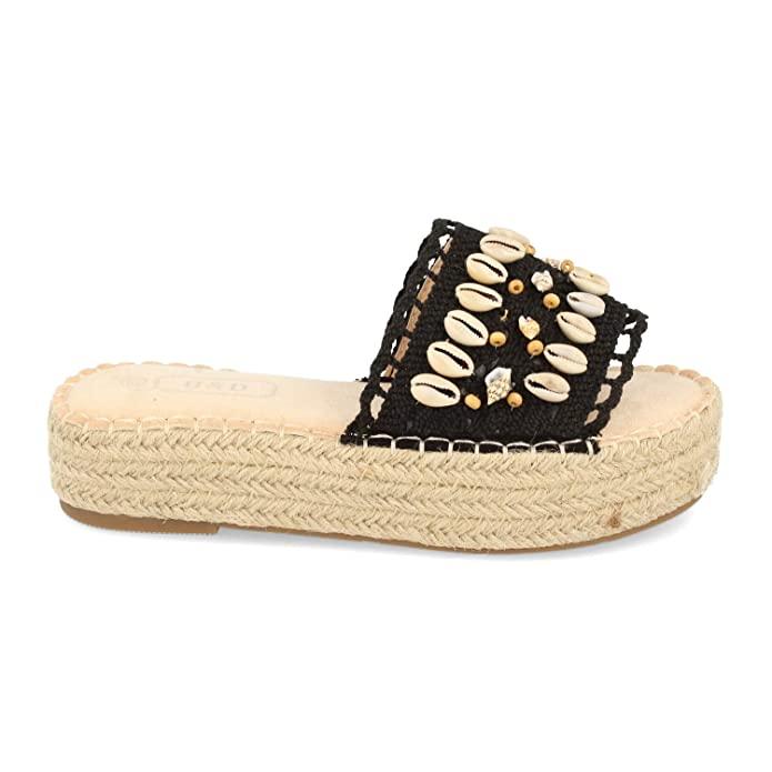 Sandalias boho con plataforma en color negro